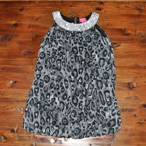 PINKY Girl's Gray Leopard Print Sequin Party Dress